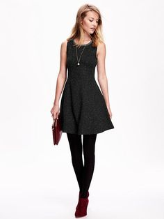 Women's Fit & Flare Speckled French Terry Dress Product Image