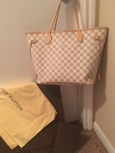 Extra Off Coupon So Cheap Authentic-Louis- Vuitton- Neverfull MM Damier  Azur with Rose Ballerine d3547bc006f78