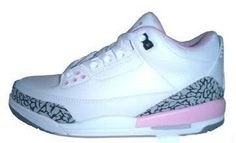 Big Kids Jordan Shoes Kids Air Jordan 3 White Pink Grey [Kids Air Jordan 3 - Clean and clear Kids Air Jordan 3 White Pink Grey sneakers are very great both in the style and colorway. These shoes is very suitable for kids to wear with their softness and Jordan Shoes For Kids, Air Jordan 3, Cheap Jordans, Kids Jordans, Grey Sneakers, Sneakers Nike, Cheap Shoes, Kid Shoes, Shoe Game