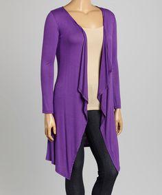 Love this Purple Open Cardigan - Plus on #zulily! #zulilyfinds