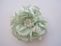 Beautiful Apple Green Satin Flower Bridal Hair by theraggedyrose, $32.95