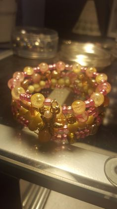Yellow and pink glass beads