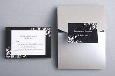 faire part mariage noir et blanc moderne pochette argentee JM320