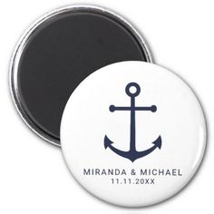 #Modern Nautical Navy Blue Anchor Wedding Favor Magnet - #wedding gifts #marriage love couples