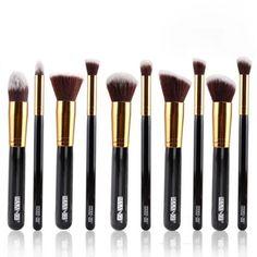 10Pcs Plastic Handle Professional Cosmetic Makeup Brush Set