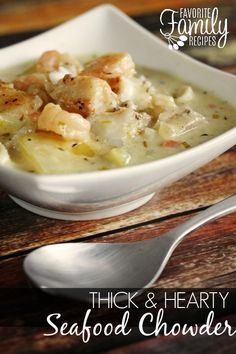 Thick and Hearty Seafood Chowder is full of savory flavor! Seasoned fish, tender potatoes and a creamy broth make this the best seafood chowder ever! Fish Chowder, Chowder Soup, Fish Soup, Fish Recipes, Seafood Recipes, Cooking Recipes, Healthy Recipes, Best Halibut Recipes, Jamaica Recipes