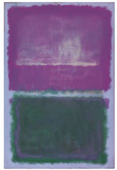 'UNTITLED (LAVENDER AND GREEN)' 1952 Mark Rothko. Oil on canvas: 67⅝ by 44½ in. (171.7 by 113 cm) Sotheby's A. Alfred Taubman estate auction estimate $20,000,000 — 30,000,000.