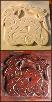 celtic dragon relief carving