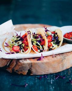 Lentil and strawberry tacos by David Frenkiel and Luise Vindahl Andersen from Green Kitchen Travels   Cooked