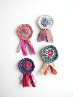 Crochet badges Embroidered brooch fabric jewelry by giovabrusa
