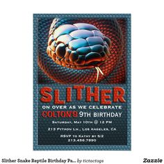Slither Snake Reptile Birthday Party Invitation Online Invitations Invites 6 Year