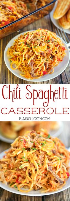 Chili Spaghetti Casserole - comfort food at its best! Spaghetti, hamburger, onions, garlic, chili, tomatoes, sour cream, shredded cheese and French fried onions. CRAZY good!!! Ready to eat in under an hour. Great for a potluck and tailgating! Can freezer or later.