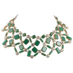 Kenneth Jay Lane 1960s spectacular green glass and clear paste collar necklace   From a unique collection of vintage choker-necklaces at https://www.1stdibs.com/jewelry/necklaces/choker-necklaces/