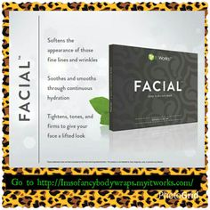 Tighten And Tone your face too with our Facial Deep Hydration Mask.1 box  includeds 4 applications.Item#103 Retail price$99USD Loyal Customer$59USD Become a Loyal Customer and save.. To purchase go to http://Imsofancybodywraps.myitworks.com