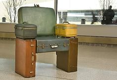 Creative Ways To Reuse Old Suitcases. Cool and Creative Ways To Reuse Old SuitcasesCool and Creative Ways To Reuse Old Suitcases Cute Suitcases, Vintage Suitcases, Vintage Luggage, Repurposed Furniture, Cool Furniture, Suitcase Chair, Old Luggage, Luggage Suitcase, Muebles Art Deco