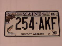SUPPORT WILDLIFE 254-AKF MAINE LICENSE PLATE FREE SHIPPING
