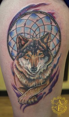 Dreamcatcher wolf tattoo designs images and pictures on forearm tattoos for men ideas and designs guys Thigh Tattoo Designs, Wolf Tattoo Design, Tribal Tattoo Designs, Wolf Paw Tattoos, Animal Tattoos, Wolf Dreamcatcher Tattoo, Sharpie Tattoos, Dream Catcher Tattoo Design, Tribal Sleeve Tattoos