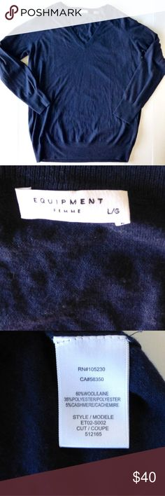 "Equipment wool cashmere blend lightweight sweater Very lightweight knit, think t-shirt weight Navy v-neck pullover Long sleeves 60% wool 35% polyester 5% cashmere0 Dry clean or hand wash 22.5"" armpit to armpit 29.5 from back of neck to hem New without tags Equipment Sweaters V-Necks"