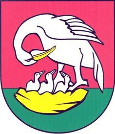 Erb: V červeno-zeleně sníženě děleném štítě stříbrný pelikán se zlatou zbrojí skloněný nad třemi stříbrnými mláďaty ve zlatém hnízdě.