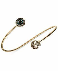RACHEL Rachel Roy Bracelet, Worn Gold-Tone Evil Eye Star and Moon Cuff Bracelet