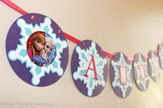 "Disneys Frozen inspired Snowflake Personalized ""Happy Birthday"" Banner featuring Anna & Elsa - Frozen Birthday Decorations by AbbeyMarieCreations on Etsy https://www.etsy.com/listing/195488359/disneys-frozen-inspired-snowflake"