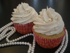 Classy Vanilla cupcakes with vanilla buttercreme.