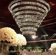 Wedding reception with GIANT spiral crystal chandelier