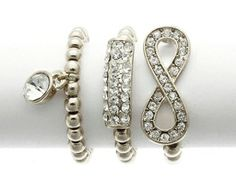 SILVER STRETCH RINGS SET