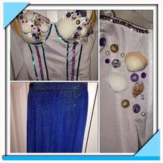 Mermaid Halloween costume #DIY hi-low skirt, corset top, sequins, pearls, seashells