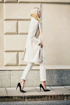 Fashion -- November Style Inspiration : Early Autumn Whites -- a slideshow compilation of 14 images of street style inspiration from coats to pleated pants.
