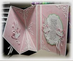 Bloomin' Paper: Upright diamond fold card - 12x5; vertical scores at 4,6,8; x score between 2 and 6.