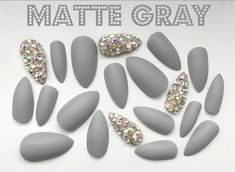 Matte Gray Press On Nails Grey Gel Polish Bling Accent Nail Art coffin nails glue on - Coffin Nails Glitter Acrylics, Grey Acrylic Nails, Coffin Nails Matte, Gray Nails, Stiletto Nails, Kat Von D, Bling Nails, Bling Bling, Nails Kylie Jenner