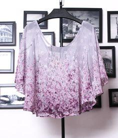 Women Chiffon Top Bat Wing + Lace Tassels Shorts