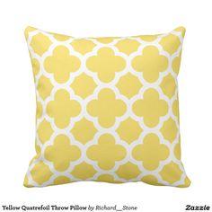 Yellow Quatrefoil Throw Pillow