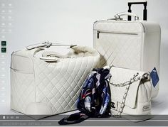 Chanel luggage set in all white