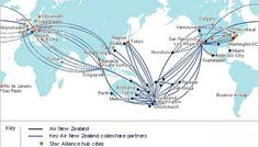 Map thanks to our friends at Air New Zealand We can send pets almost anywhere around the world. Air NZ are a pet friendly carrier that we use for a lot of destinations! Air New Zealand, Pet Travel, South Pacific, Travel Posters, Washington Dc, Your Pet, Tokyo, Angels, Mexico