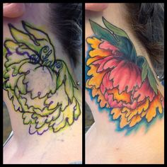Before and after name coverup.   By Mike Pritchett @ Matchless Tattoo