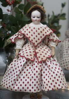 """15"""" (38 cm) Antique French Fashion China porcelain Doll with cobalt blue glass eyes attributed to Rohmer, c.1860"""