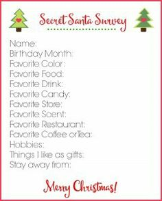 HannahS Creative Cove Secret Santa Questionnaire  Christmas