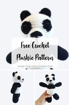 Pudge the Panda is the newest guy in our family and you can grab the crochet panda pattern right here! Free, easy, and such a cute make! Plushie Patterns, Crochet Animal Patterns, Crochet Patterns Amigurumi, Crochet Animals, Crochet Panda, Crochet Food, Crochet Yarn, Unique Crochet, Cute Crochet
