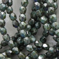 4mm Green Opaque Stone Czech Glass Beads - Faceted Round Fire Polished - 50 Beads - Green Stone Round Beads - 1964