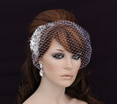 Bird Cage Veil , Blusher , Birdcage Veil and Comb , Bridal Comb ,  Wedding Comb , Bridal Hair Accessory , Crystal Bachelorette Veil by EleganceByKate on Etsy https://www.etsy.com/listing/168014514/bird-cage-veil-blusher-birdcage-veil-and