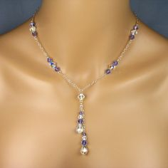 "Bridesmaid Necklace Sterling Silver Chain Swarovski Crystals Teardrop Lariat Style Tanzanite ""Stacey Chain"". $62.00, via Etsy."
