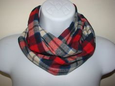 Baby Boy Plaid Infinity Scarf navy red cream by OtiliaBoutique