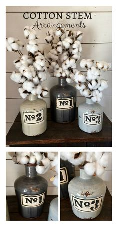 I really like the containers these cotton stem arrangements are in! No.1,2, & 3 rustic, distressed vases. All three or just one, that is the question. Perfect decor for farmhouse style. #cottonstems #farmhousedecor #ad #cotton #vases #rustic #arrangement