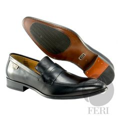 - Mens genuine leather penny loafer - Real cow hide leather upper with leather sole - Custom sole imprint with FERI design - Hand brushed leather creates unique look - Colour: Black - Heel height: inches - Hardware plate: inches x inches Penny Loafers, Loafers Men, Mens Designer Shoes, Leather Dress Shoes, Cow Hide, Luxury Shoes, Colour Black, Cowhide Leather, Shoe Collection