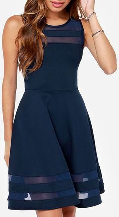 Final Stretch Navy Blue Dress  ❤︎
