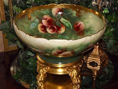 Limoges Huge Punch Bowl Peach Decor and Gold Signed Pickard Artist Kiefusu