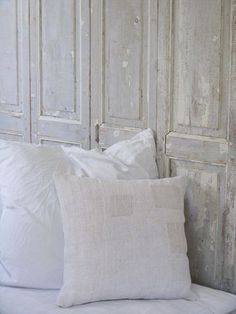 Head board using antique French interior shutters