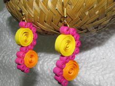 Paper Quilling Handmade Multi Colour Fashion Jewelry Women Chandelier Earrings #Handmade #JhumkiorChandelier